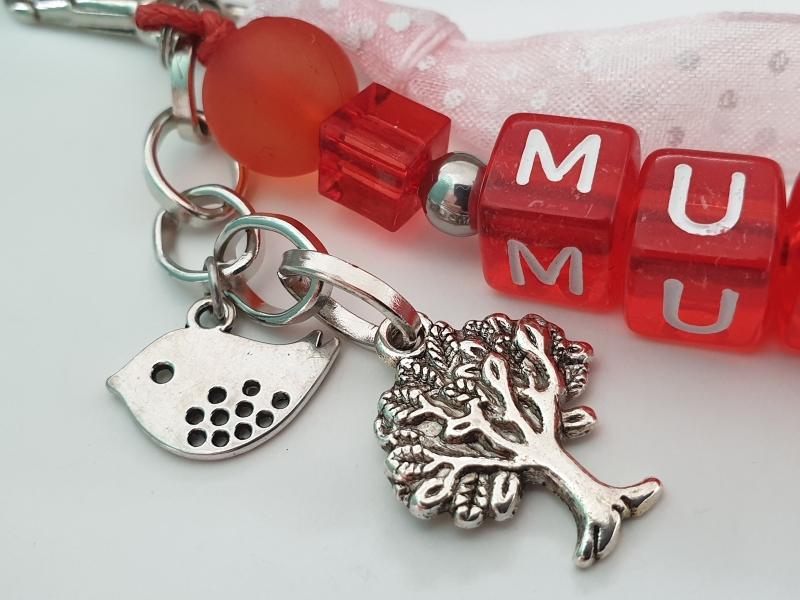 Kleinesbild - Mutti Schlüsselanhänger handgefertigt Buchstabenperlen Vogel Baum Anhänger Geschenk Danke für Mama Muttertag