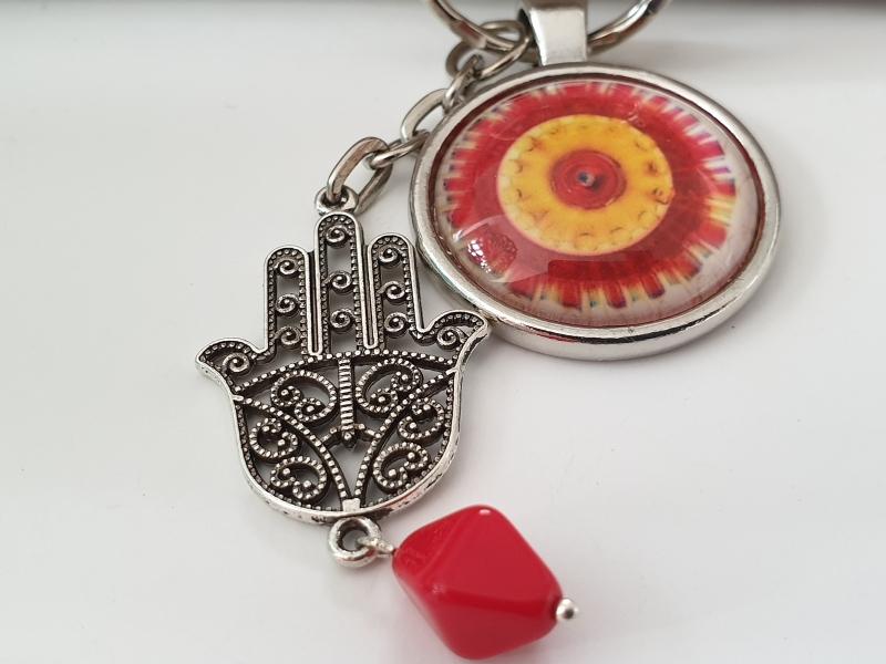 Kleinesbild - Hamsa Hand Mandala Schlüsselanhänger Glascabochon handgefertigt Geschenk für Frauen Freundin Yogalehrerin Erzieherin