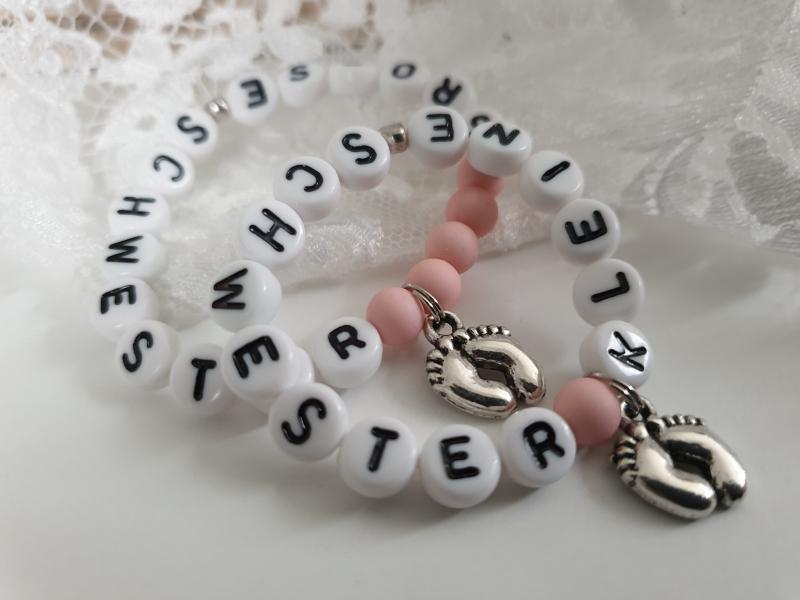Kleinesbild - Allerliebstes Kleine Schwester Große Schwester Armband 2er Set handgefertigt Geschwisterarmbänder Babyfüße Geschenk Geburt Baby