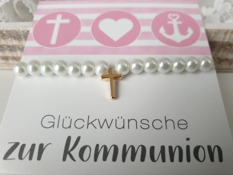 - Kreuz Armband handgefertigt Geschenk Kommunion Konfirmation Religion für Mädchen Frauen - Kreuz Armband handgefertigt Geschenk Kommunion Konfirmation Religion für Mädchen Frauen