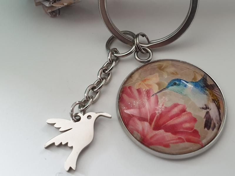 Kleinesbild - Kolibri Vogel Schlüsselanhänger Glascabochon handgefertigt Geschenk Frauen Mama Freundin Abschied