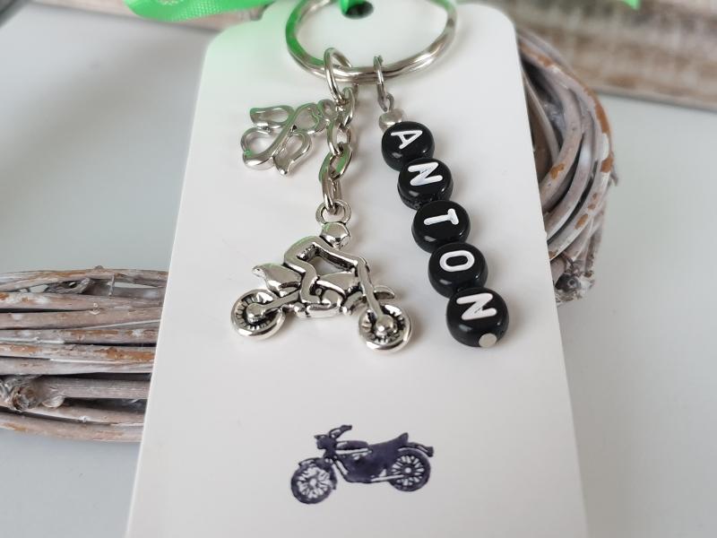 Kleinesbild - Motorrad Schlüsselanhänger mit Namen Geschenk Führerschein Motorrad Krad Männer Freund