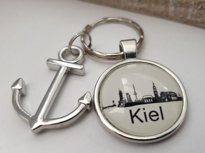 Kleinesbild - Kiel Schlüsselanhänger handgefertigt mit Metallanhänger Anker Geschenk Andenken Souvenir Frau Mann