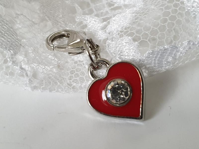 - Herz Anhänger Charms rot mit Strass Geschenk für Mädchen Frauen Freundin Liebe - Herz Anhänger Charms rot mit Strass Geschenk für Mädchen Frauen Freundin Liebe