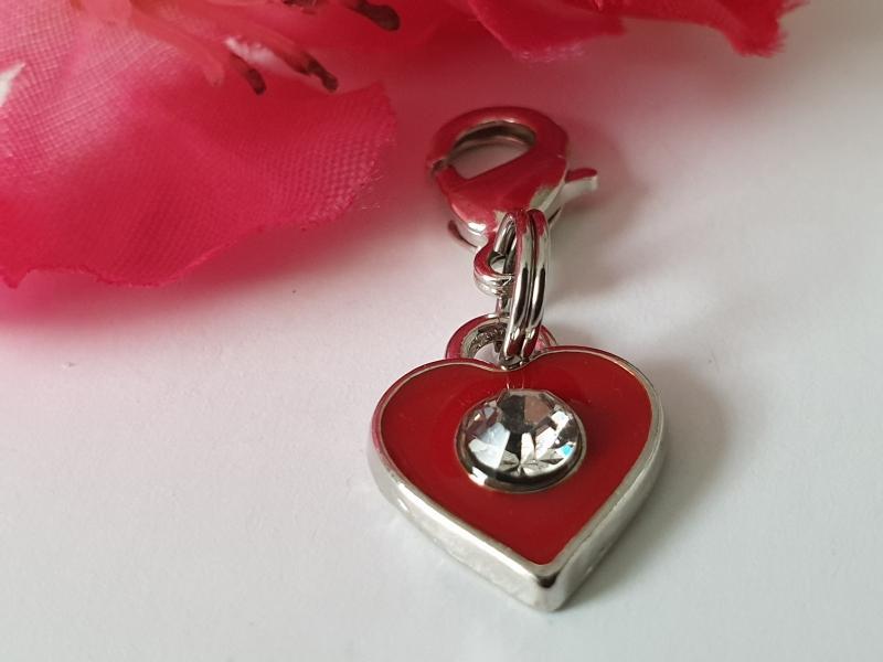 Kleinesbild - Herz Anhänger Charms rot mit Strass Geschenk für Mädchen Frauen Freundin Liebe