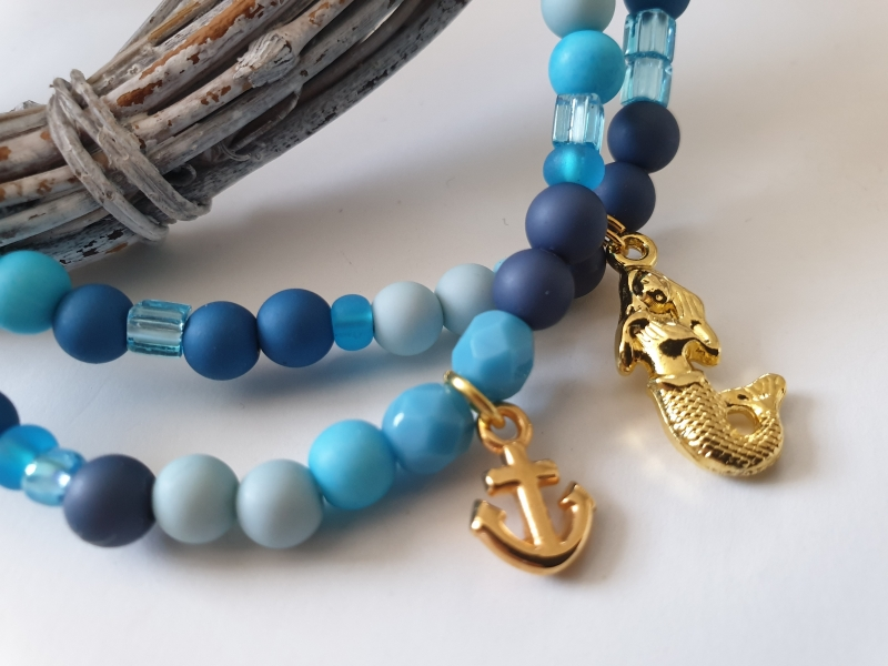 Kleinesbild - Meerjungfrau Armbandset mit Anker handgefertigt Materialmix maritimer Schmuck Geschenk Frauen Freundin