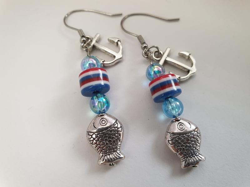 Kleinesbild - Anker Ohrringe mit Fisch maritimer Ohrschmuck Geschenk für Frauen Mädchen Freundin Urlaub Sommer Strand