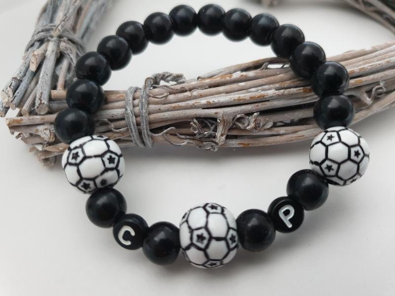 - Fußball Armband personalisierbar handgefertigt mit Initialen Geschenk Frauen Männer Kinder Fußballfan - Fußball Armband personalisierbar handgefertigt mit Initialen Geschenk Frauen Männer Kinder Fußballfan