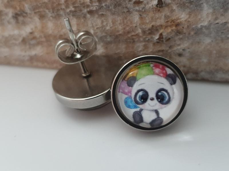 Kleinesbild - Pandabär Ohrstecker Glascabochon 10 mm Edelstahl Geschenk Frauen Freundin Mädchen Geburtstag Einschulung