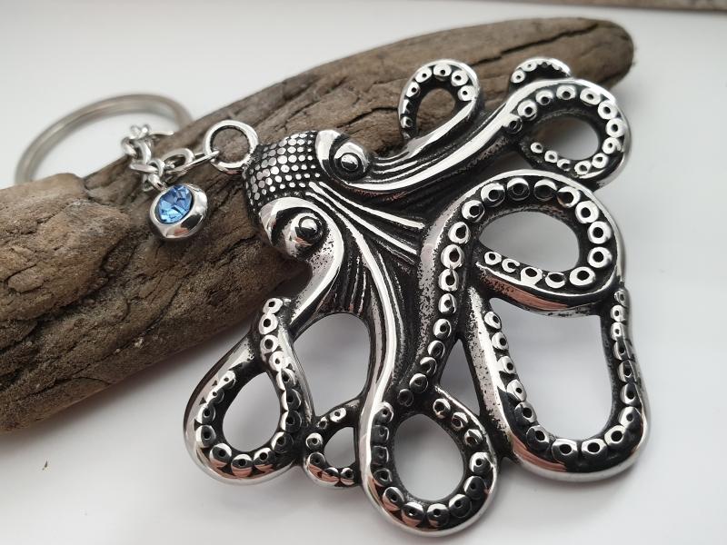 Kleinesbild - Krake Octopus Schlüsselanhänger Edelstahl mit Strass Geschenk Frauen Männer Urlaub Meer Erinnerungsgeschenk