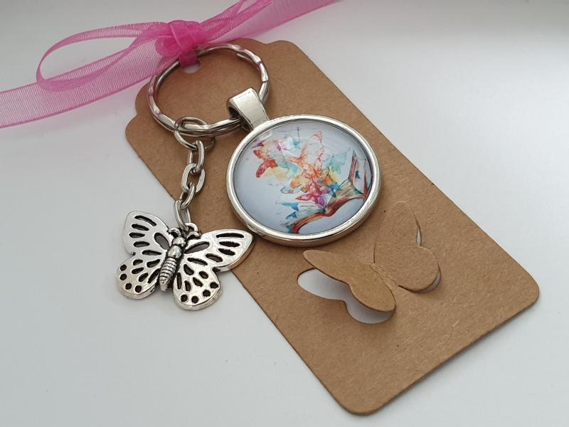 Kleinesbild - Schmetterlinge Schlüsselanhänger Glascabochonanhänger handgefertigt mit Karte und Metallanhänger Schmetterling Buch Geschenk Frauen Freundin Erinnerung