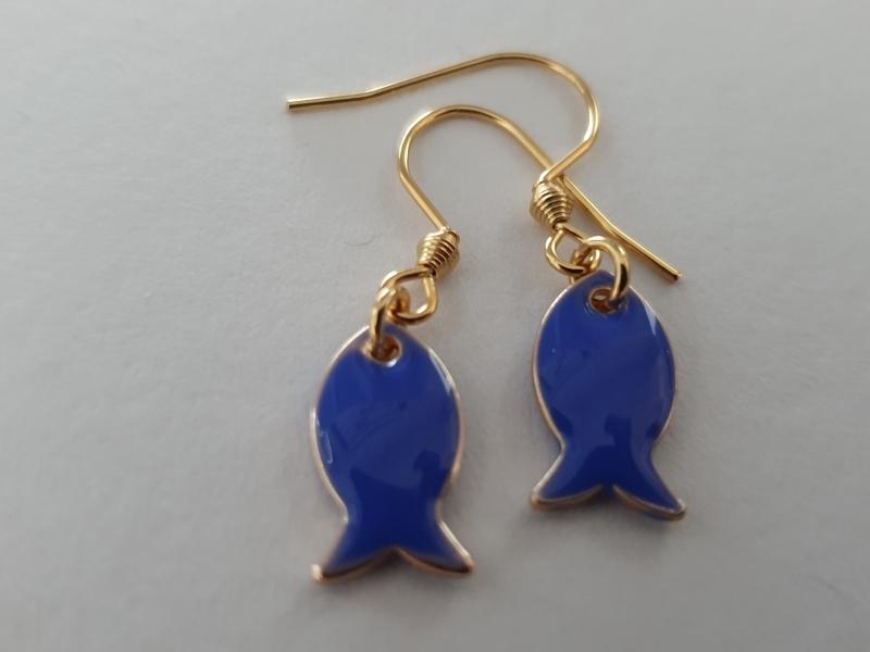 Kleinesbild - Fisch Ohrhänger Emaille blau Ohrschmuck Meer Glaube Geschenk Frauen Freundin Mädchen Kommunion