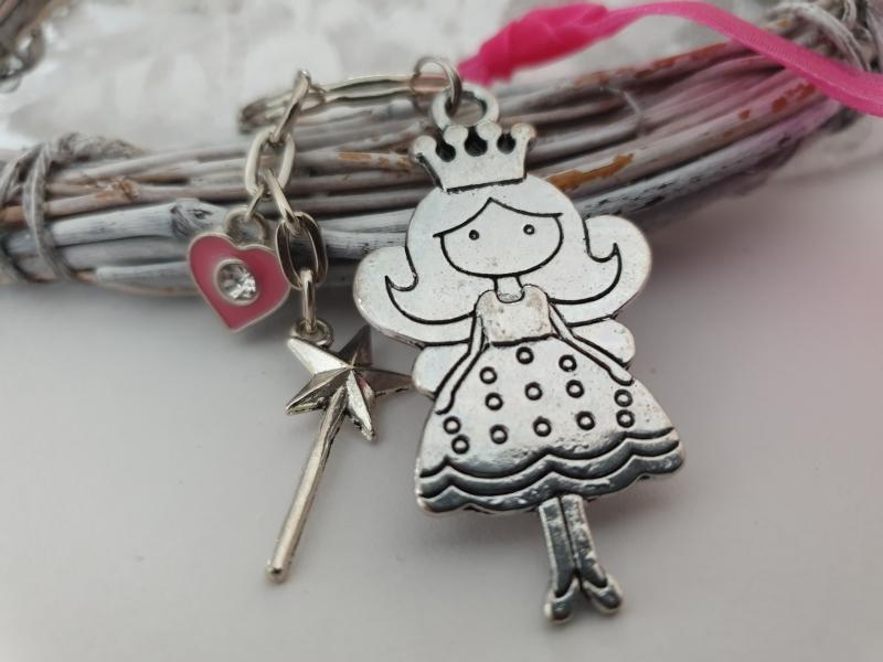 Kleinesbild - Prinzessin Schlüsselanhänger mit Zauberstab handgefertigt Geschenk Mädchen Frauen Freundin Tochter Enkelin Schulanfang
