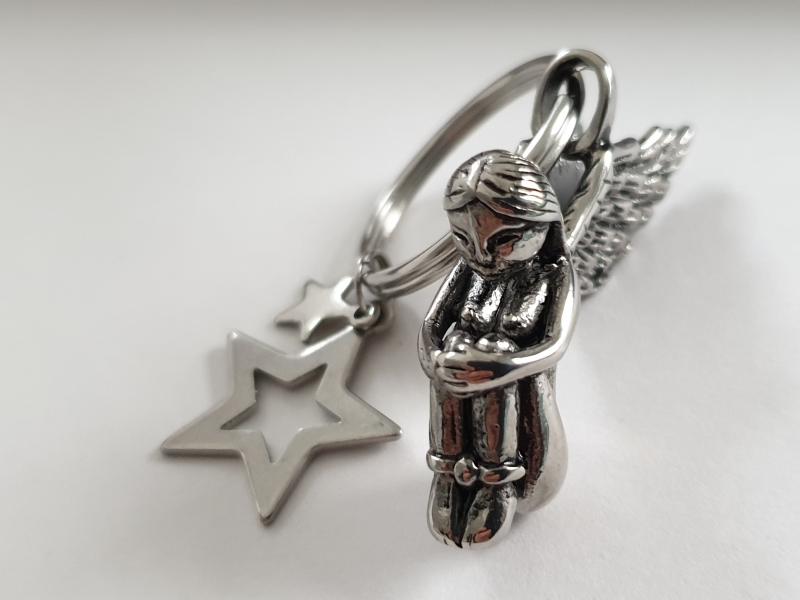 Kleinesbild - Schutzengel Engel Schlüsselanhänger mit Sternen Edelstahl Geschenk Frauen Freundin Auto Prüfung Abschied Trauer Trost