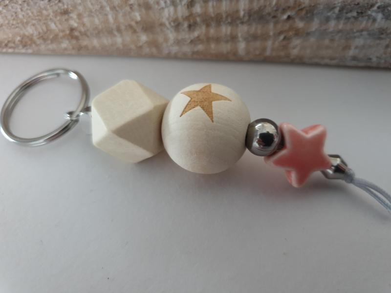 Kleinesbild - Stern Schlüsselanhänger handgefertigt Holz Porzellan Geschenkset Geburt Taufe Baby Erinnerung Sternenkind