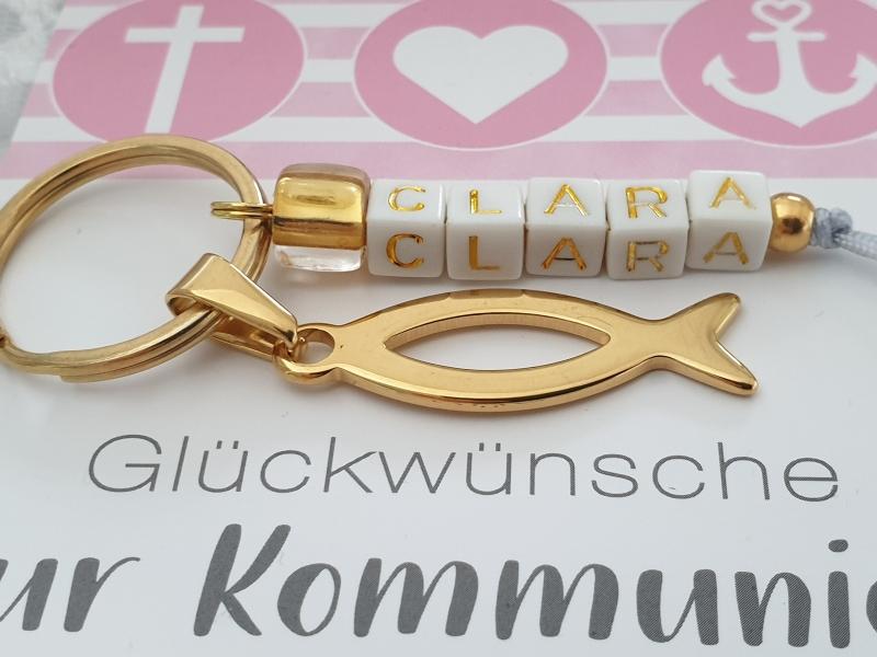 - Kommunionsgeschenk Fisch Schlüsselanhänger mit Namen handgefertigt Geschenk Kommunion Konfirmation für Mädchen  - Kommunionsgeschenk Fisch Schlüsselanhänger mit Namen handgefertigt Geschenk Kommunion Konfirmation für Mädchen