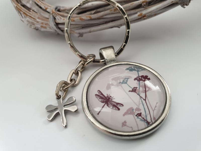 Kleinesbild - Libelle Schlüsselanhänger Glascabochon handgefertigt mit Libellenanhänger Geschenkset Frauen Freundin Danke Wünsche