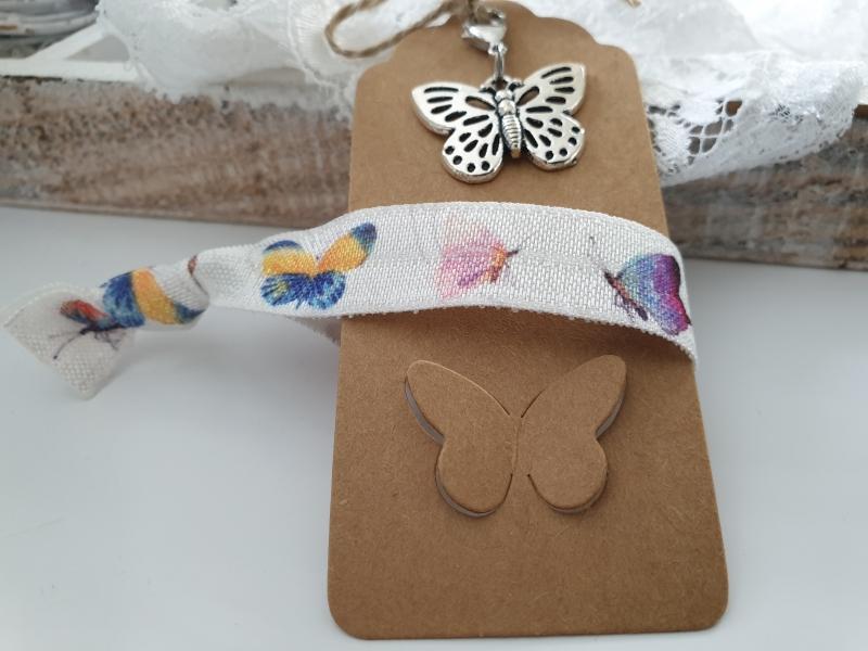 Kleinesbild - Schmetterling Geschenkset Haargummi Charms handgefertigt mit Metallanhänger Geschenk Frauen Freundin Mama Kollegin