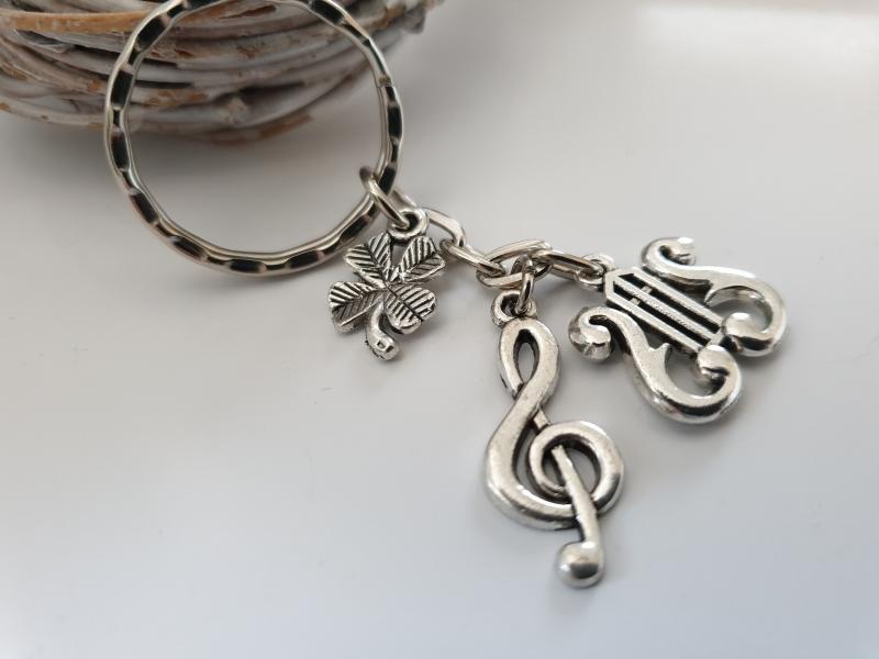 Kleinesbild - Glücksbringer Musik Lyra Saiteninstrument Schlüsselanhänger handgefertigt Violinenschlüssel Notenschlüssel Geschenk Frauen Männer Musiker Konzert