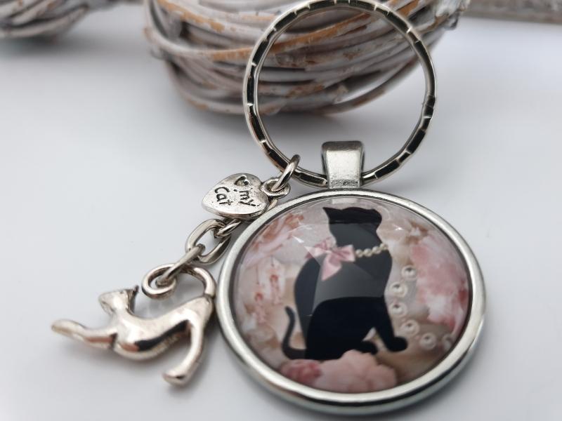 - Katzen Schlüsselanhänger Glascabochon handgefertigt Geschenk Katzenliebhaber Katzenliebe Katzenmutti - Katzen Schlüsselanhänger Glascabochon handgefertigt Geschenk Katzenliebhaber Katzenliebe Katzenmutti