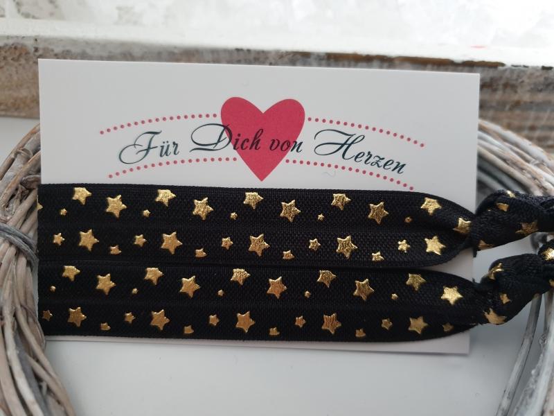 - Sterne Haargummi Armband 2er Set schwarz gold Hairties Geschenk Frauen Mädchen Freundin  - Sterne Haargummi Armband 2er Set schwarz gold Hairties Geschenk Frauen Mädchen Freundin
