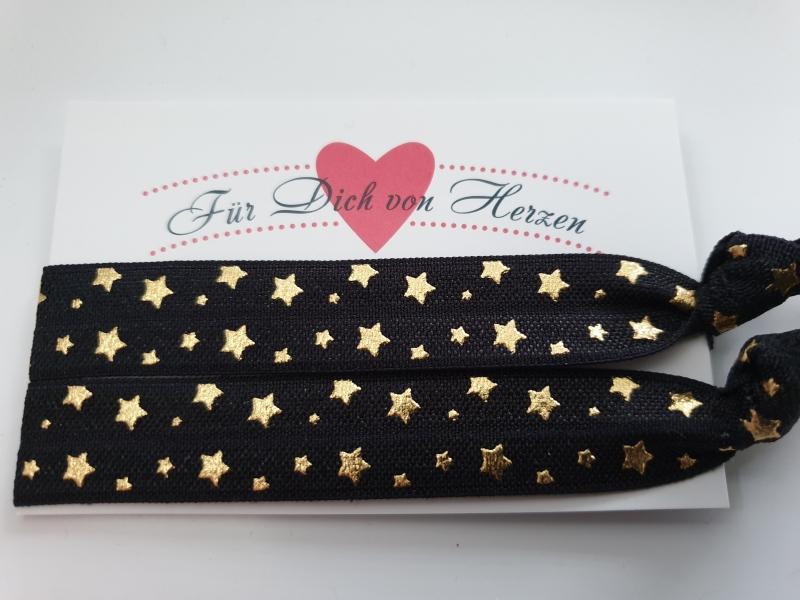 Kleinesbild - Sterne Haargummi Armband 2er Set schwarz gold Hairties Geschenk Frauen Mädchen Freundin