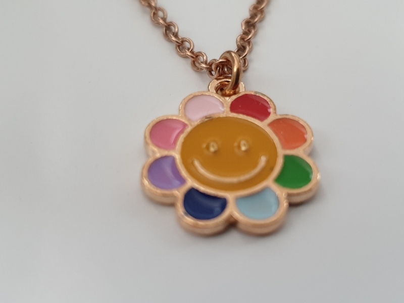Kleinesbild - Regenbogen Kette mit Blume Geschenkset Frauen Freundin Mädchen Tochter Enkelin Kindergeburtstag Einschulungsgeschenk