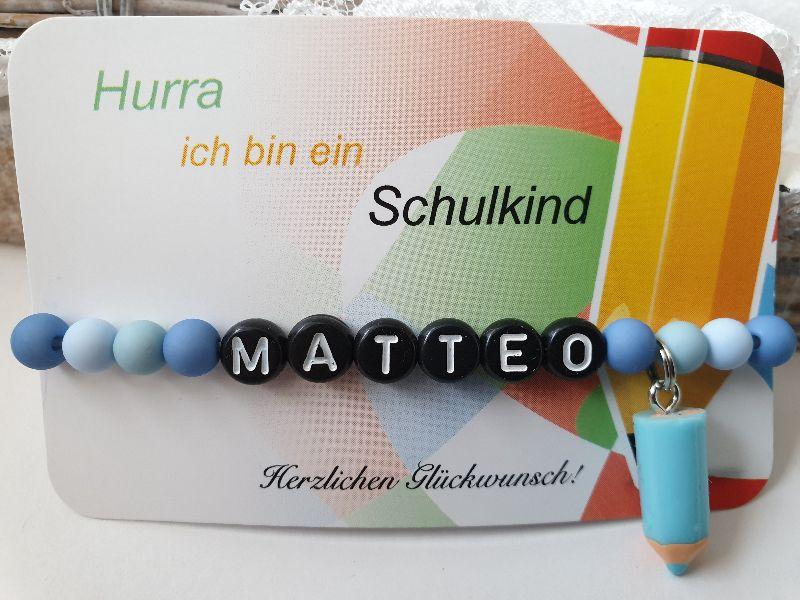 Kleinesbild - Einschulungsgeschenk Schulkind Armband Junge mit Farbstift Resin Geschenkset Schulanfang mit Karte