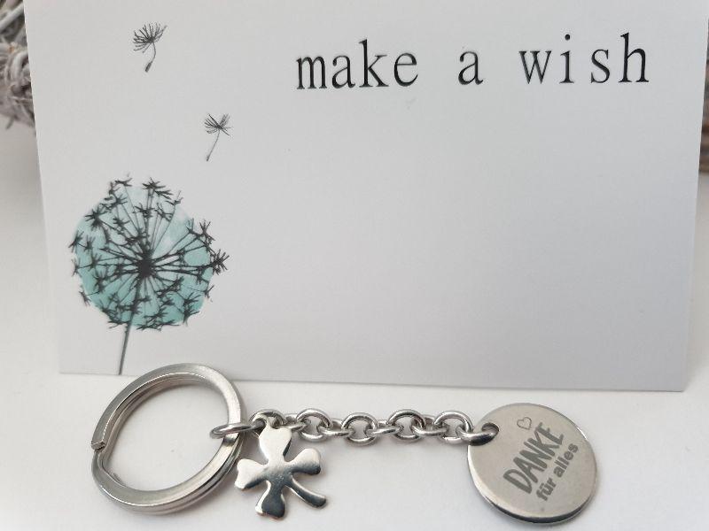 Kleinesbild - Danke für alles Schlüsselanhänger kleines Dankeschön handgefertigt Edelstahl Kleeblatt Geschenk Frauen Männer