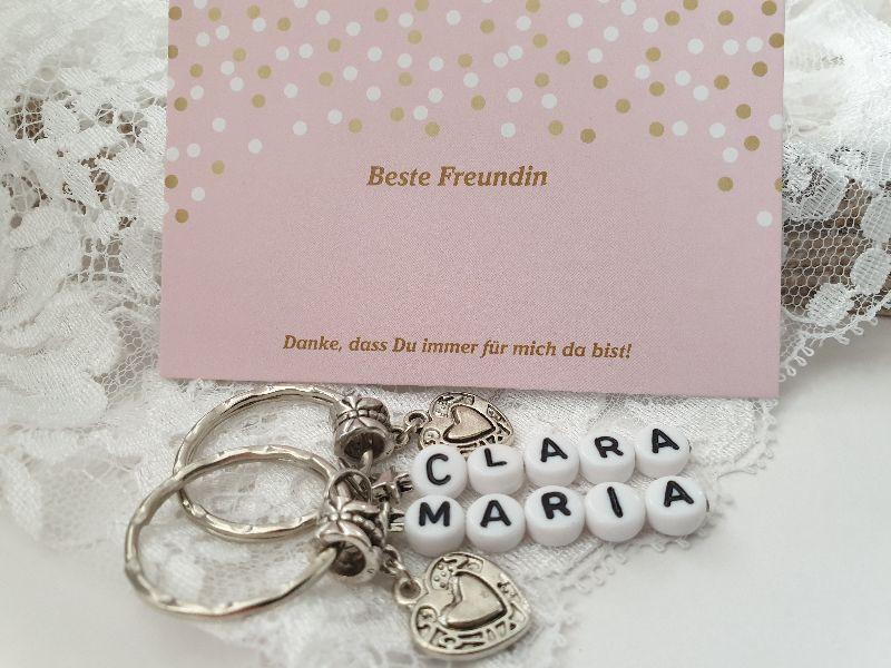 Kleinesbild - Beste Freundin Schlüsselanhänger 2er Set mit Namen Geschenk Mädchen Frauen Danke Freundschaftsgeschenk für Zwei