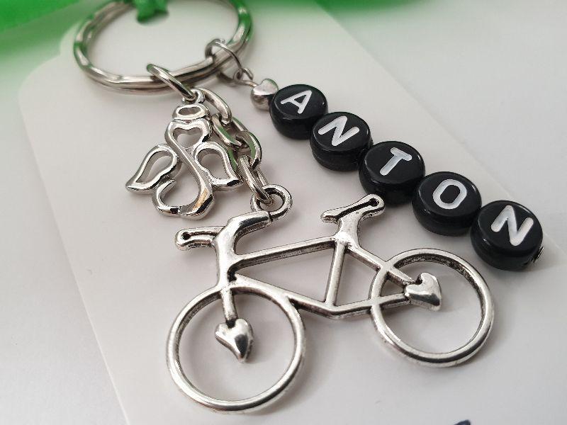 Kleinesbild - Fahrrad Schlüsselanhänger mit Namen personalisierbar Schutzengel Glücksbringer Geschenk Männer Freund Papa Kollege Radsport Abschied