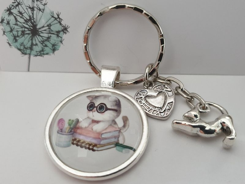 Kleinesbild - Katze Schlüsselanhänger Glascabochon handgefertigt Geschenk Frauen Haustier Katzenliebe Katzenmutti