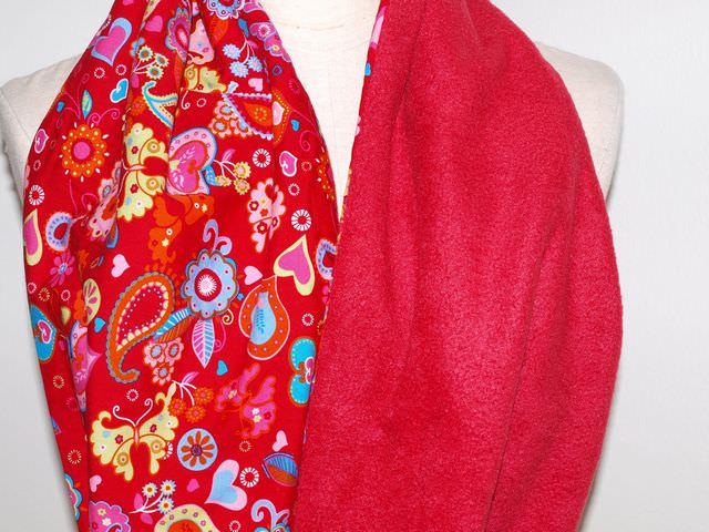 Kleinesbild - Schlauchschal Rotrot Rundschal, Circleschal, aus Baumwolle und Fleece