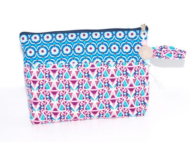 Kleinesbild - Schminktäschchen Blau & Lila Kosmetiktäschchen, Universaltäschchen aus Baumwolle
