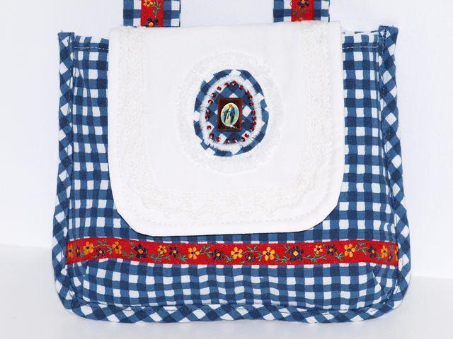 - Gürteltasche Karo-line  Dirndl Täschchen aus Baumwollstoff mit einem kleinen Bildchen - Gürteltasche Karo-line  Dirndl Täschchen aus Baumwollstoff mit einem kleinen Bildchen