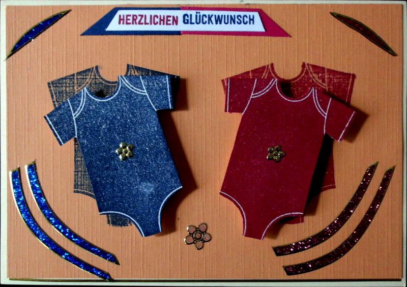 - Niedliche, handgemachte Glückwunschkarte zur Geburt eines Zwillingspärchens - Niedliche, handgemachte Glückwunschkarte zur Geburt eines Zwillingspärchens