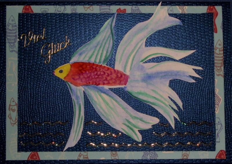 - Handgemachte, mit Aquarellfarbe gemalte Glückwunschkarte für Aquarienbesitzer - Handgemachte, mit Aquarellfarbe gemalte Glückwunschkarte für Aquarienbesitzer