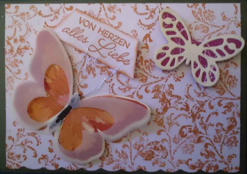 - Handgemachte , sehr romantische Karte in orangerot mit Schmetterlingen - Handgemachte , sehr romantische Karte in orangerot mit Schmetterlingen