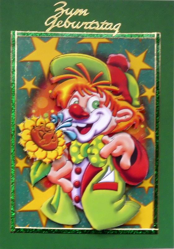 - Selbstgestaltete 3D-Grußkarte mit Clown - Selbstgestaltete 3D-Grußkarte mit Clown