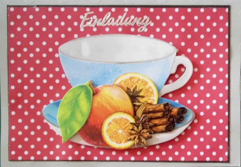 - Selbstgemachte Einladungskarte zum Kaffee in der Adventszeit. - Selbstgemachte Einladungskarte zum Kaffee in der Adventszeit.