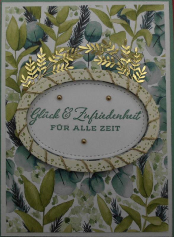 - Aufwendig selbstgemachte Karte zur Hochzeit in Grüntönen - Aufwendig selbstgemachte Karte zur Hochzeit in Grüntönen