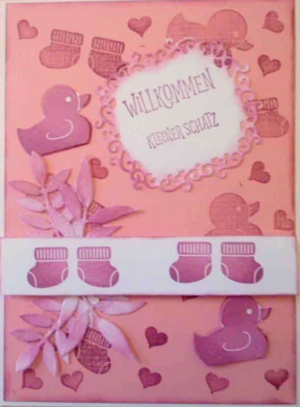 - Selbstgemachte Karte zur Geburt eines Mädchens oder auch Zwillingen - Selbstgemachte Karte zur Geburt eines Mädchens oder auch Zwillingen