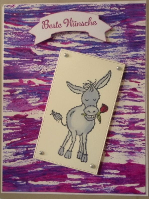 - Selbstgemachte Grußkarte mit Fadentechnik und einem Esel mit Rose - Selbstgemachte Grußkarte mit Fadentechnik und einem Esel mit Rose