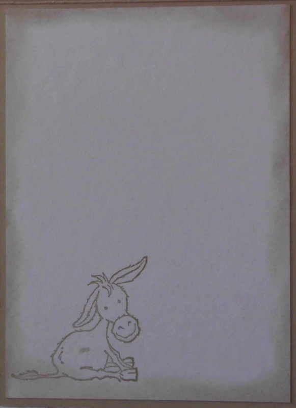 Kleinesbild - Selbstgemachte Grußkarte mit Fadentechnik und einem Esel mit Rose