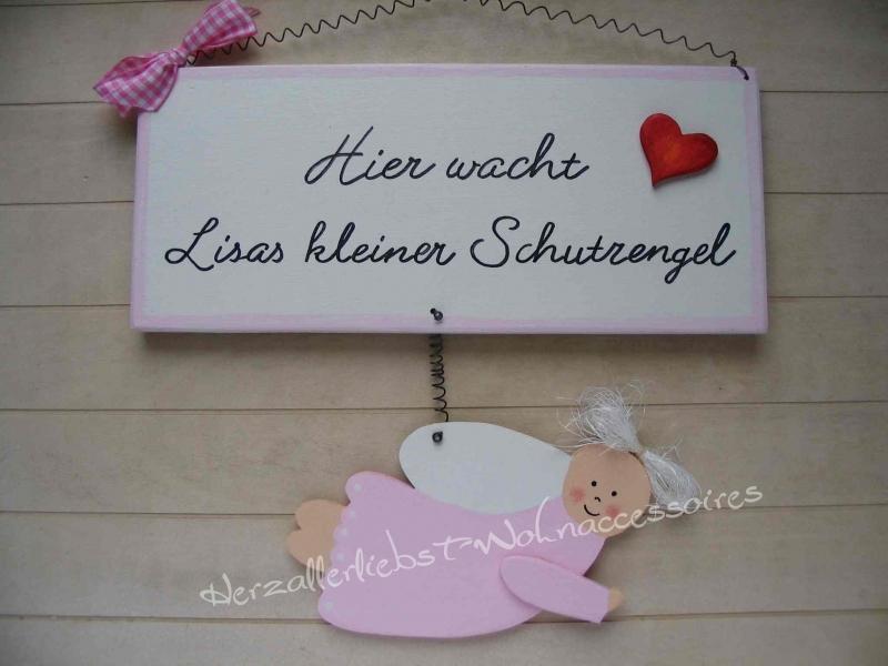 - Süßes Schild mit Schutzengel und dem Namen Ihres Kindes aus Holz - Süßes Schild mit Schutzengel und dem Namen Ihres Kindes aus Holz