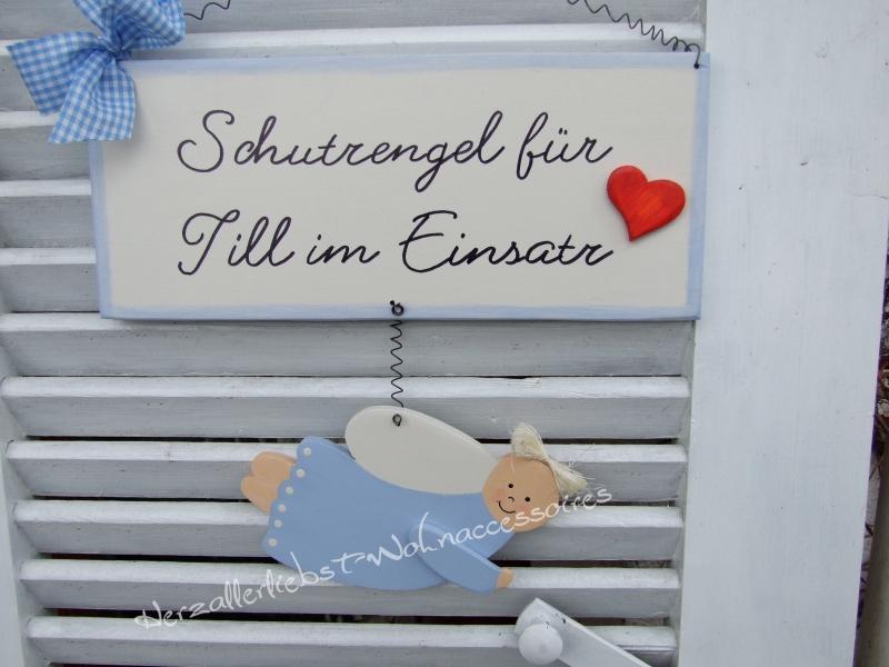 Kleinesbild - Süßes Schild mit Schutzengel und dem Namen Ihres Kindes aus Holz