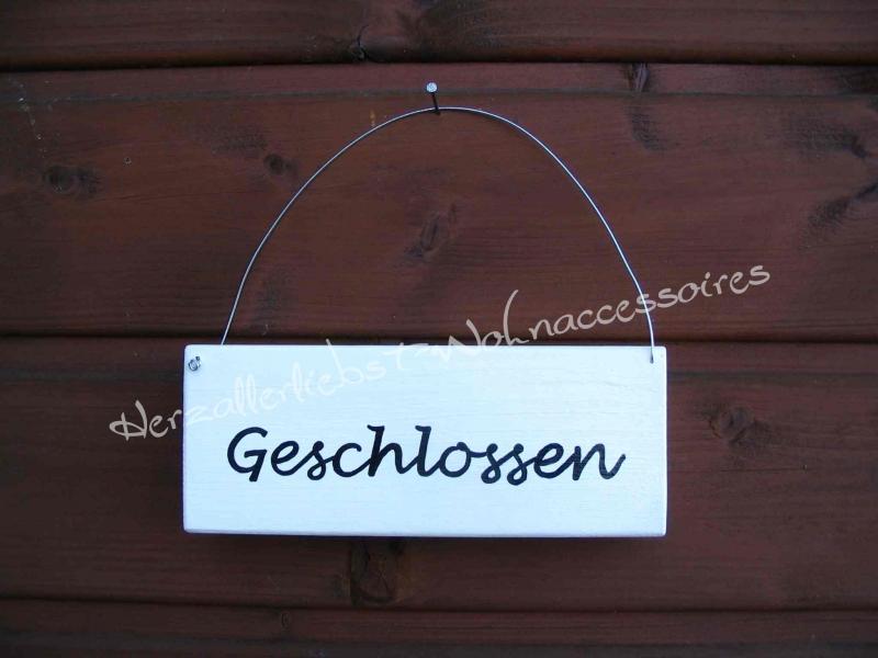 Kleinesbild - Geöffnet/Geschlossen  ♡ Türschild aus Holz ♡ weiß mit schwarzer Schrift ♡