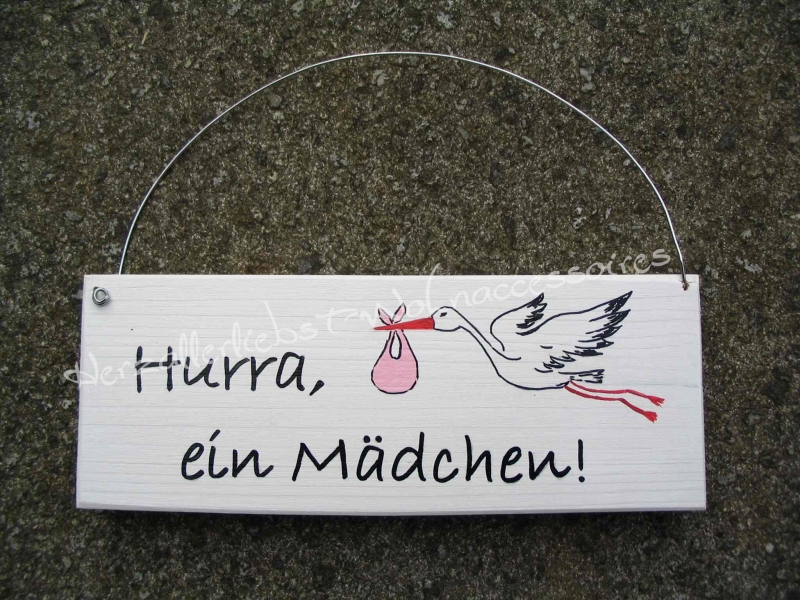 Kleinesbild - Schild mit Storch zur Geburt oder Taufe - mit den Daten Ihres Kindes