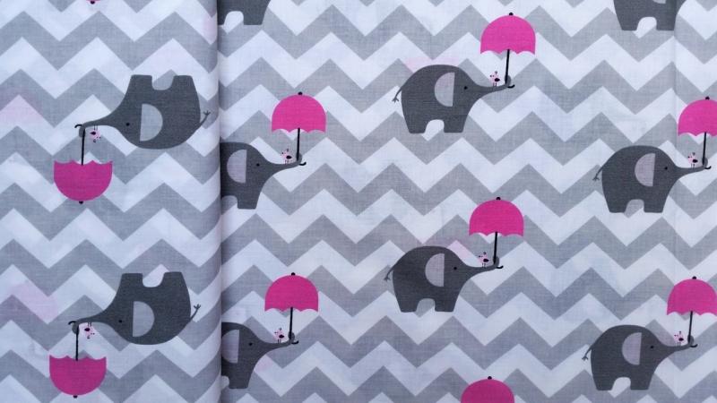 Kurzwaren & Nähzubehör : Baumwollstoff, Elefant mit Schirm, Öko-Tex ...