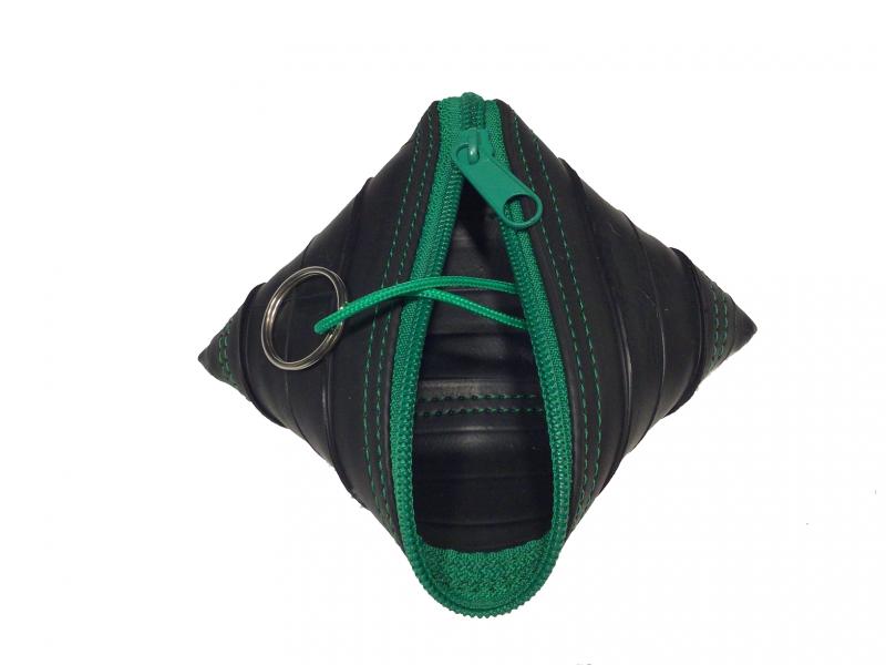 Kleinesbild - Schlüsseletui aus Fahrradschlauch mit grünem Reißverschluss - Upcycling